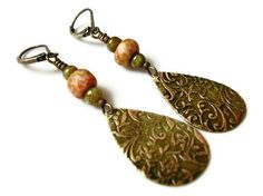 Embossed Amber and Green Patina Drop and Picasso Czech Glass Dangle Earrings, via Etsy.