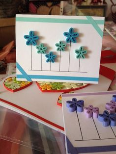 Paper Quilling Cards, Paper Quilling Patterns, Quilling Paper Craft, Paper Crafts, Creative Birthday Cards, Handmade Birthday Cards, Quilling Flower Designs, Quilling Techniques, Homemade Cards