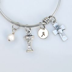 Maria Faustina Charm On A 7 1//2 Inch Round Double Loop Bangle Bracelet St