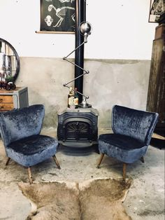 Cocktail chairs velvet blue