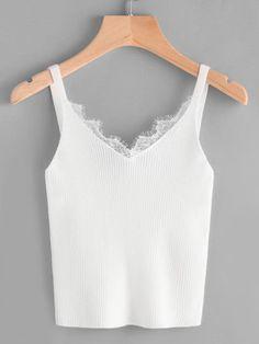 Eyelash Lace Trim Knit Top -SheIn(Sheinside)