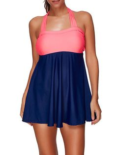 9d13c27fd19 Buy Halter Patchwork Elasticity Soft Comfortable Swimdresses Swimwear For  Women online with cheap prices and discover