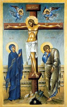 "Our Lady & St. John at the foot of the cross. ""Woman, behold your son. (St. John) behold your Mother"""