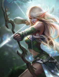 ArtStation - ElfArcher, lana g   Archer elf female warrior, fighter, blonde   character design