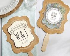 Personalized Kraft Fan - Travel and Adventure (Set of Aspen-These compass-and-map-detailed fans will steer you and your guests in the right direction at your wedding! Created by Kate Aspen, these adventure-inspired pieces come in a kraft pap Wedding Favors Unlimited, Destination Wedding Welcome Bag, Wedding Welcome Bags, Wedding Favors For Guests, Unique Wedding Favors, Wedding Ideas, Diy Wedding, Rustic Wedding, Wedding Souvenir