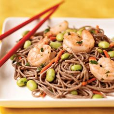 Edamame!?  What's that?  Actually very good!  Looks hard but easy and again a family favorite.  Use that left-over shrimp.  One pkg of Soba noodles will make 2 batches.