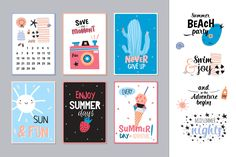 Summer cards, calendars, typography by Ruslana Vasiukova on @creativemarket