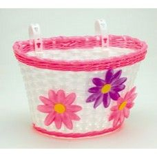 Go Easy Pink Small Bicycle Basket with Flowers Kids Bike Accessories, Bicycle Basket, Bicycle Girl, Victoria Australia, Flower Basket, Small Flowers, No Equipment Workout, Easy, Pink