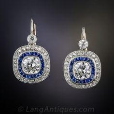 2.10 Carat Diamond and Sapphire Art Deco Style Vintage Earrings