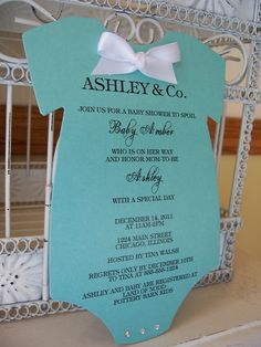 Homemade Baby Shower Invitations | Tiffany Onesie Baby Shower Invitations by BeautifullyInviting