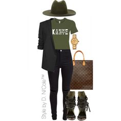 A fashion look from March 2016 by stylebydnicole featuring Helmut Lang, New Look, Ivy Kirzhner, Louis Vuitton, Versace and Études