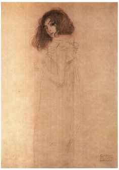 Drawing of a girl.  Gustav Klimt