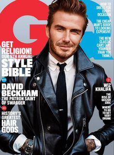 GQ Magazine April 2016 David Beckham Cover Patron Saint of Swagger, Wiz Khalifa David Beckham 2016, Moda David Beckham, David Beckham Style, Gq Magazine Covers, Fashion Magazine Cover, Tom Ford Leather Jacket, Male Fashion Trends, Mens Fashion, The New Classic