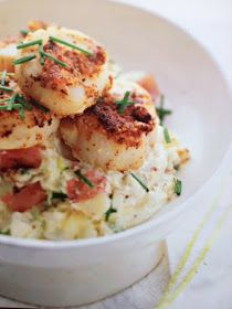 French Press Mornings: Seared Scallops with Bacon & Whole-Grain Mustard Rub & Crème Fraîche-Mashed Potatoes