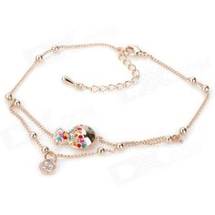 Brand: KCCHSTAR; Model: BK-104; Quantity: 1 Piece; Color: Golden; Material: Zinc alloy; Gender: Women; Suitable for: Couple; Size: 25.5 cm; Features: Fish shaped with colorful rhinestone, fashionable design; Great for daily wear; Nice gift for your friends; Packing List: 1 x Bracelet; 1 x Case; http://j.mp/1ljJEjN