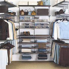 The Container Store > Walnut & Platinum elfa décor Chic Walk-In Closet