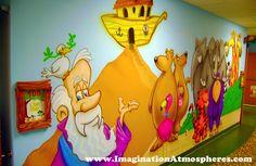 Fun Cartoon Children's Church Murals - Noah's Ark, Hand-Painted. www.ImaginationAtmospheres.com