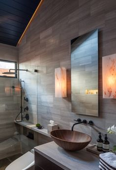 Modern Bathroom with Large shower Head, Oil Rubbed Bronze Fixtures, and Wood Sink