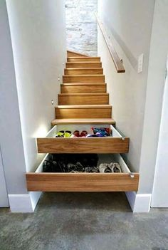Home Storage solutions for a split level entryway Selecting The Right Patio Furniture Cushions Artic Stair Drawers, Stair Storage, Hidden Storage, Extra Storage, Staircase Storage, Hidden Shelf, Stairs With Storage, Secret Storage, Diy Storage