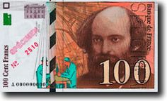 FRA-100f-anv - Paul Cézanne - Billete de banco (frente), 100 FF, con el retrato de Paul Cézanne, y la pintura El mar en el Estaque.
