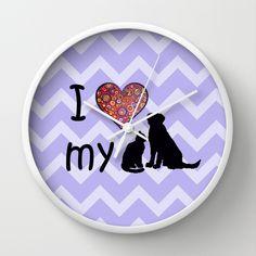 I heart my dog & cat Wall Clock