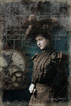 Victoriana in Steampunk Digital College by anoriginalbyingrid, $5.00