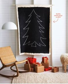 This is essentially what we've done this year (chalk tree) with a busy/curious toddler in the house. Next year, a real tree, but this one she can draw on and we won't have to worry about cords or ornaments going in the mouth!