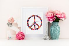 Button Art Peace Sign Buttons & Swarovski by BellePapiers on Etsy