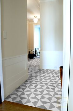 Cement tiles with simple modern geometric pattern