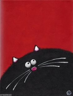 """Acrylic Fine Art Painting on Canvas Fat Cat series whimsical black kitty 9x7"""" by matilda"""