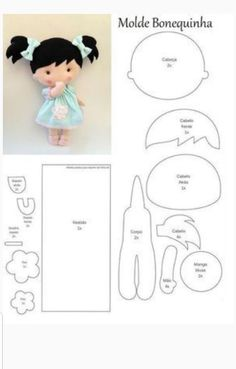 Freunderlwirtschaft Little Doll weißes Pferd - - Animal Drawing, Felt Doll Patterns, Stuffed Toys Patterns, Animal Sewing Patterns, Fabric Dolls, Paper Dolls, Fabric Doll Pattern, Fabric Sewing, Bjd Doll, Bratz Doll