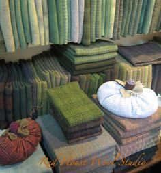 ORANGE SINK: Autumn at Red House Wool Studio~A Photo Tour! My fav color, green, lovely wool....