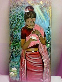 "arte naif ""Lotus""( acrilico su tela"", il fascino dell""oriente esotico"