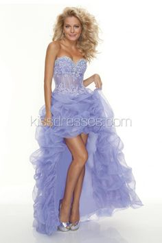 Strapless High-low Party Dress with Strapless Lace Bodice and Ruffle Organza Skirt
