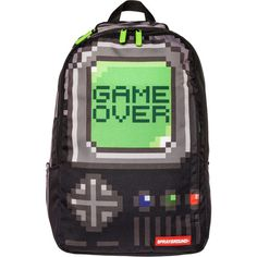 Sprayground The Game Over Backpack ($44) ❤ liked on Polyvore featuring bags, backpacks, accessories, multi, handle bag, logo bags, sprayground backpack, backpacks bags and rucksack bag