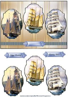 Three tall ships card front with panels toppers on Craftsuprint designed by Angela Wake - Three tall ships card front with panels toppers, and sentiment tags, a card with 3 choices, can be doubled up by using the toppers alone to make 3 cards - Now available for download!