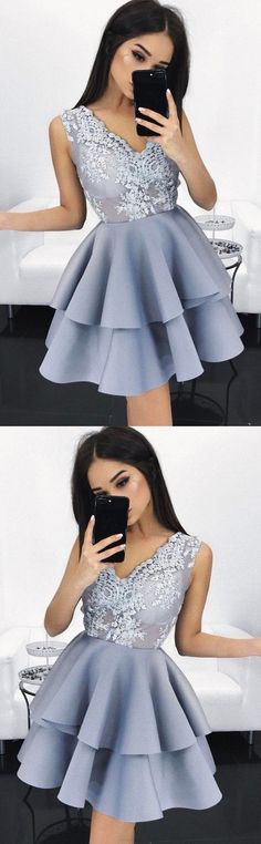 Sleeveless Party Dresses, Lavender Sleeveless Prom Dresses, Short Homecoming Dresses, 2017 Homecoming Dress V-neck Lavender Lace Short Prom Dress Party Dress Lavender Homecoming Dress, Navy Blue Prom Dresses, V Neck Prom Dresses, Dresses Short, A Line Prom Dresses, Cheap Prom Dresses, Prom Party Dresses, Prom Gowns, Pretty Dresses