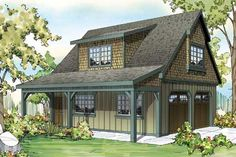<!-- Generated by XStandard version 2.0.0.0 on 2014-11-21T10:44:37 --><ul><li>This Craftsman garage plan can park up to two cars. Both doors are the same size at 9' wide and 8' tall.</li><li>In the back is a set of stairs that lead up to a vaulted attic.</li><li>The vault in the attic is about 11'6