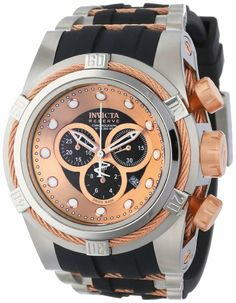 Invicta Men's 0829 Bolt Reserve Chronograph Brown Dial Black Polyurethane Watch: Watches: Amazon.com