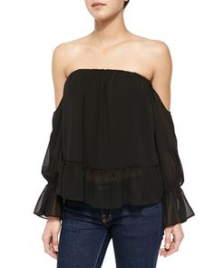 Off-the-Shoulder Top with Ruffled Hem by T Bags at Neiman Marcus.