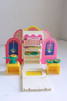 Vintage Barbie pizza kitchen set fold out oven with accessories by fuzzymama on Etsy
