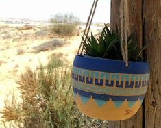 Hanging planter Ceramic planter pottery Carved sgraffito Vase GEO Aztec Geometric bohemian decor one of a kind