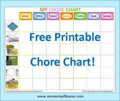 Printable chore chart for kids! Great way to keep things organized. I like the pictures.