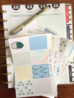 Weekly Kit, Watercolor Succulents - Erin Condren Vertical Planner, Happy Planner Stickers