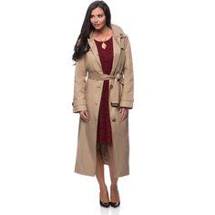 London Fog Missy Long Rain Coat ($140) ❤ liked on Polyvore featuring outerwear, coats, khaki, khaki coat, london fog, long brown coat, long raincoat and long rain coat