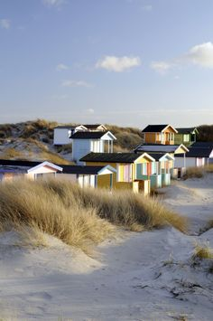 Beach huts on the beach in Skanör, Sweden