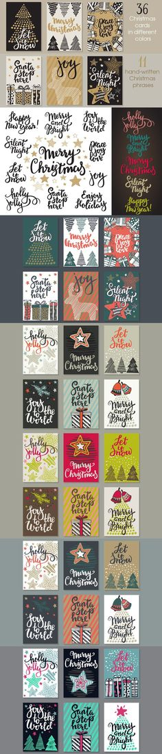 Vector Christmas cards set. Christmas Patterns. $10.00