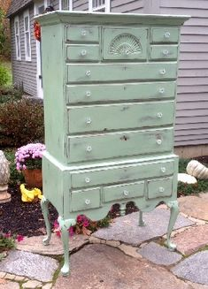 French highboy painted green shabby chic