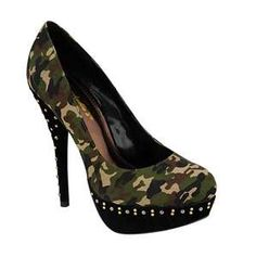 Camouflage Heel with Gold Silver Accents