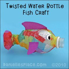 Rainbow Fish Craft - Twisted Water Bottle Fish Craft from www.daniellesplace.com
